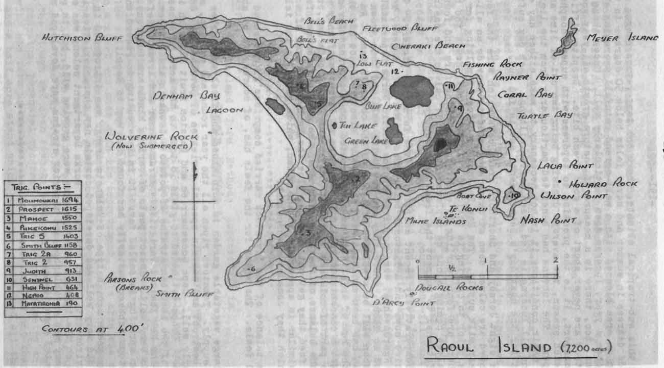 Raoul Island Map Showing Trig Points